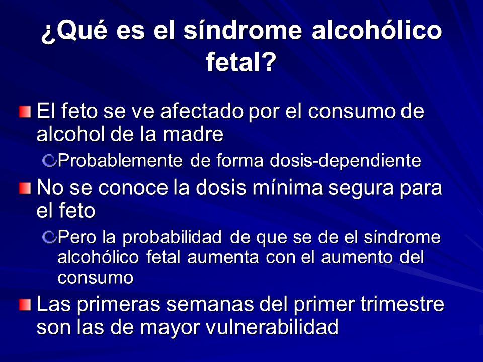 ¿Qué es el síndrome alcohólico fetal? El feto se ve afectado por el consumo de alcohol de la madre Probablemente de forma dosis-dependiente No se cono