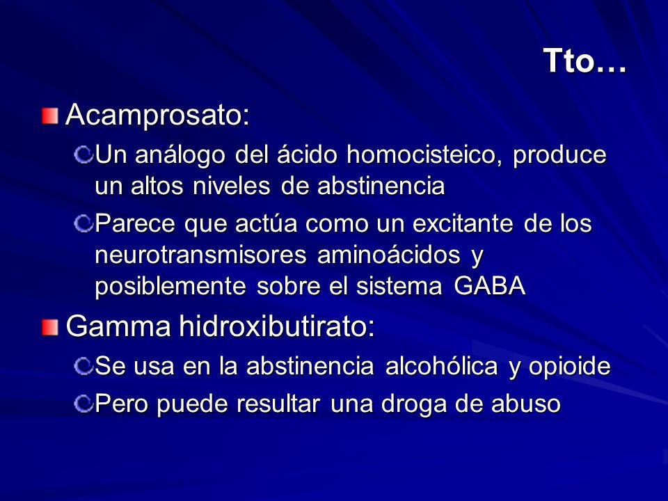 Tto… Acamprosato: Un análogo del ácido homocisteico, produce un altos niveles de abstinencia Parece que actúa como un excitante de los neurotransmisor