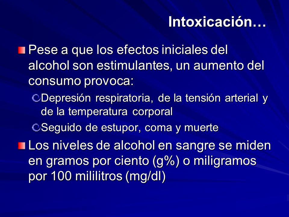 Intoxicación… Pese a que los efectos iniciales del alcohol son estimulantes, un aumento del consumo provoca: Depresión respiratoria, de la tensión art