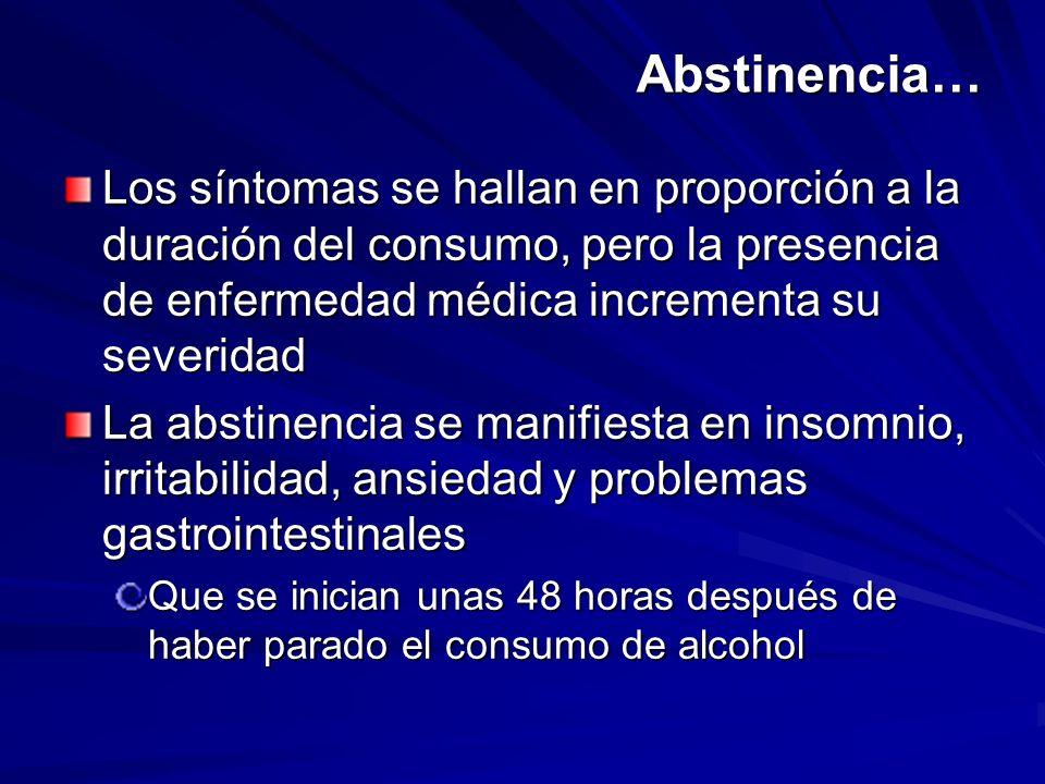 Abstinencia… Los síntomas se hallan en proporción a la duración del consumo, pero la presencia de enfermedad médica incrementa su severidad La abstine