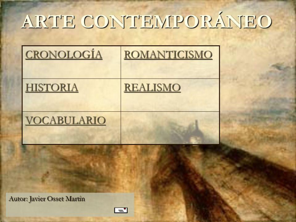 ARTE CONTEMPORÁNEO Autor: Javier Osset Martín CRONOLOGÍA ROMANTICISMO HISTORIA REALISMO VOCABULARIO