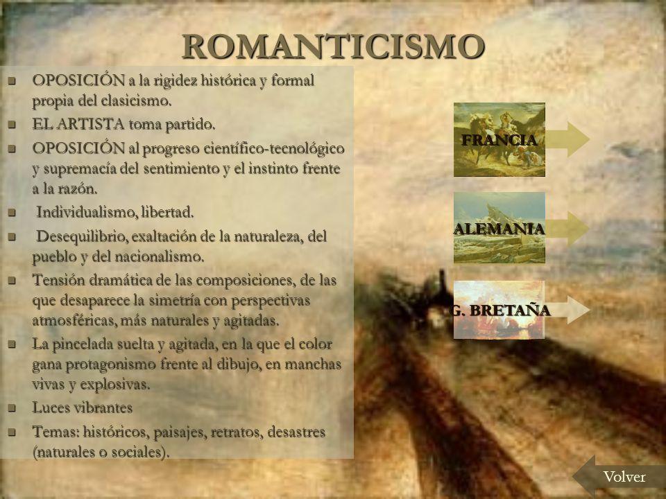 ROMANTICISMO OPOSICIÓN a la rigidez histórica y formal propia del clasicismo.