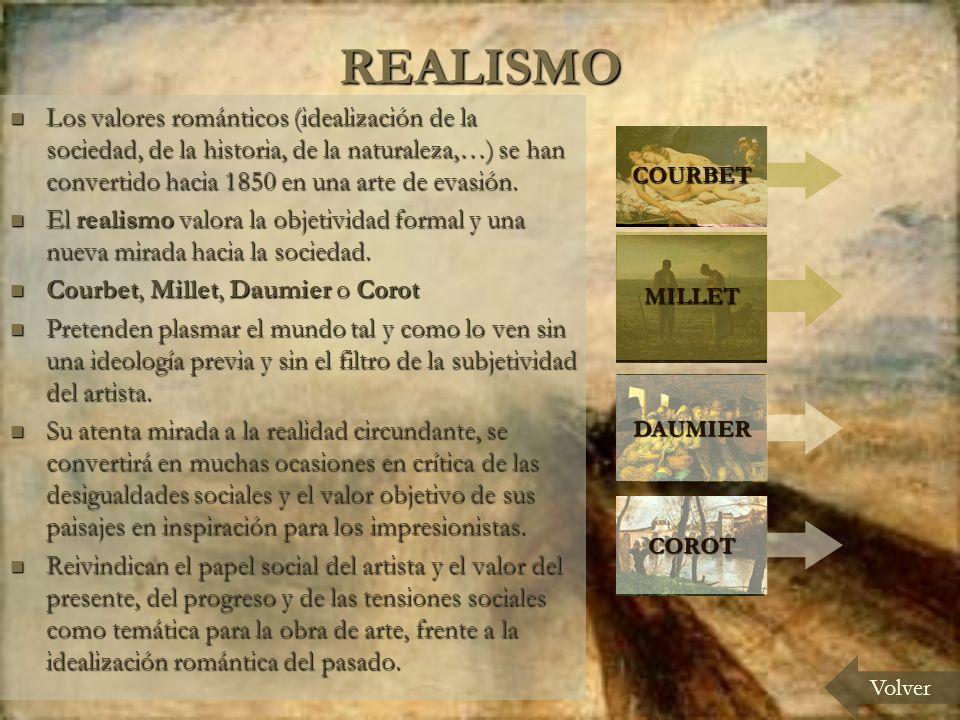 REALISMO Volver Los valores románticos (idealización de la sociedad, de la historia, de la naturaleza,…) se han convertido hacia 1850 en una arte de evasión.