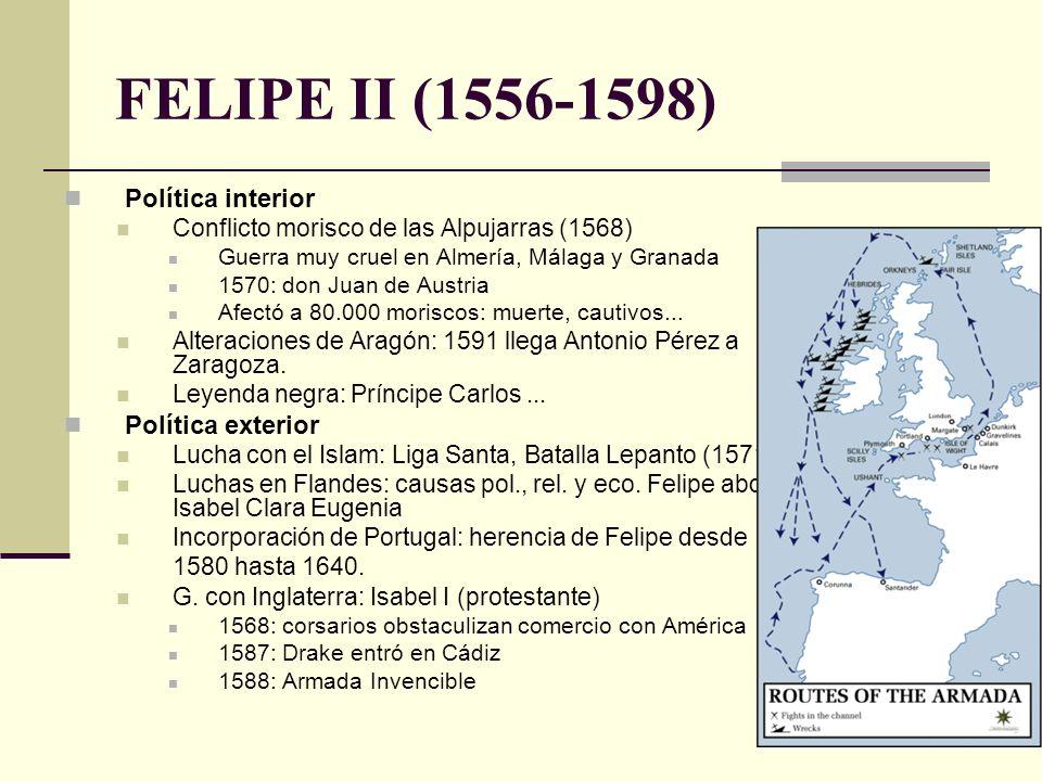 Política interior Conflicto morisco de las Alpujarras (1568) Guerra muy cruel en Almería, Málaga y Granada 1570: don Juan de Austria Afectó a 80.000 m