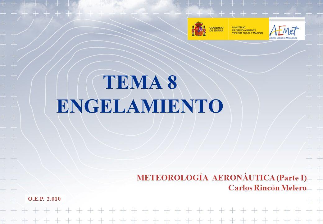 22 TEMA 8.- ENGELAMIENTO DEFINICIÓN Y FORMACIÓN: -Congelación de las gotas de agua que impactan sobre un avión en vuelo.