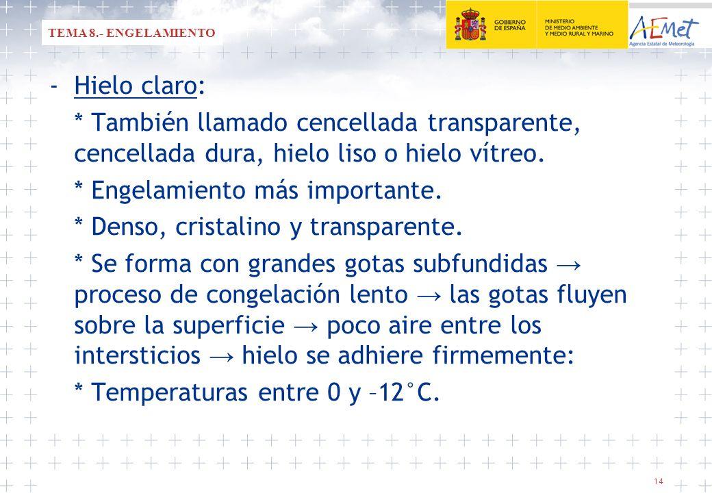 14 -Hielo claro: * También llamado cencellada transparente, cencellada dura, hielo liso o hielo vítreo. * Engelamiento más importante. * Denso, crista