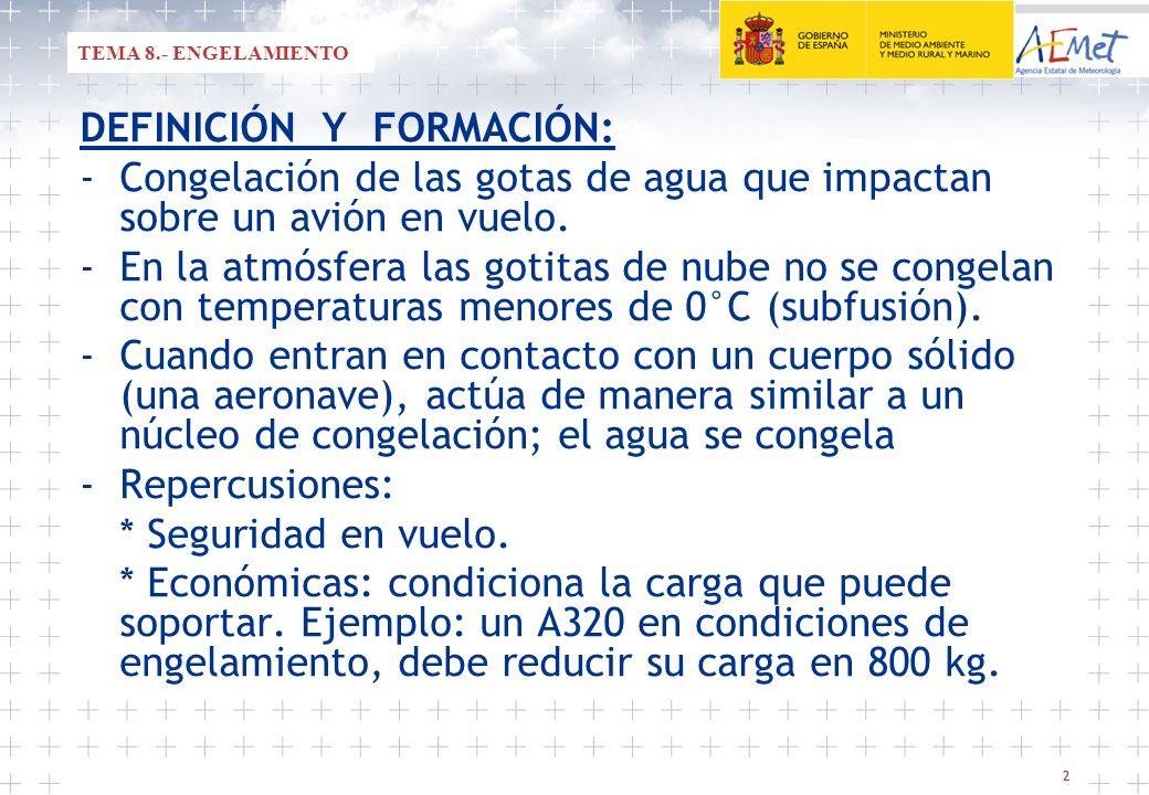 22 TEMA 8.- ENGELAMIENTO DEFINICIÓN Y FORMACIÓN: -Congelación de las gotas de agua que impactan sobre un avión en vuelo. -En la atmósfera las gotitas