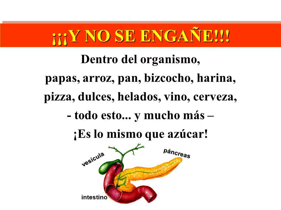 páncreas intestino vesícula ¡¡¡Y NO SE ENGAÑE!!! Dentro del organismo, papas, arroz, pan, bizcocho, harina, pizza, dulces, helados, vino, cerveza, - t