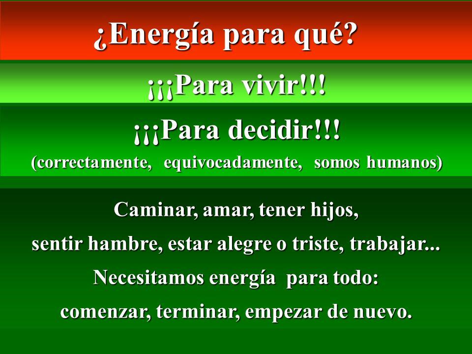 ¿Energía para qué? ¿Energía para qué? ¡¡¡Para vivir!!! ¡¡¡Para decidir!!! (correctamente, equivocadamente, somos humanos) Caminar, amar, tener hijos,