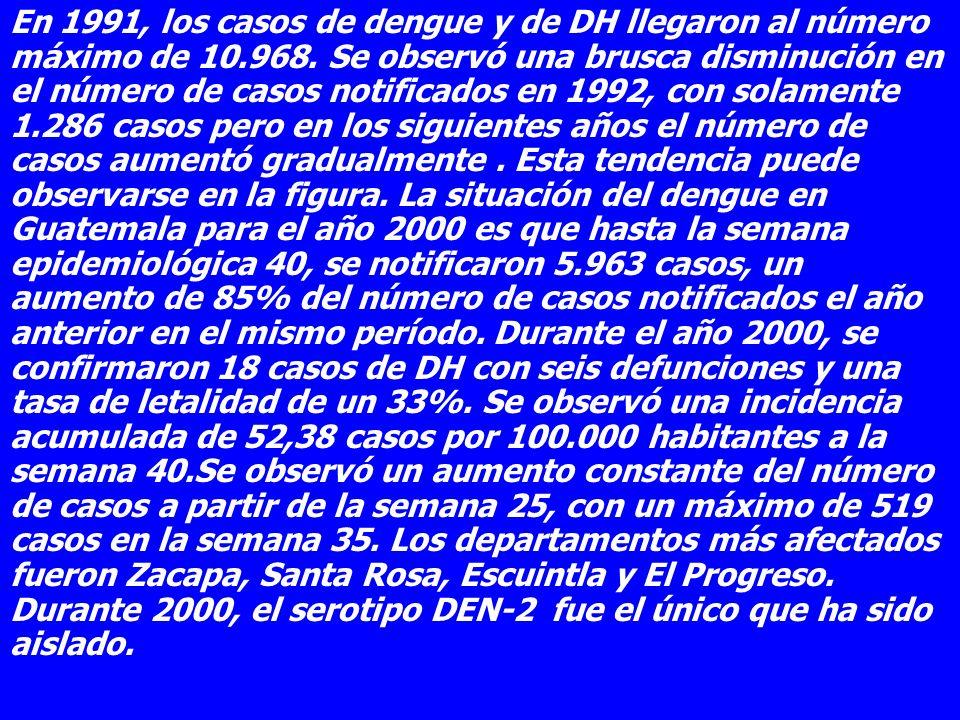 En 1991, los casos de dengue y de DH llegaron al número máximo de 10.968. Se observó una brusca disminución en el número de casos notificados en 1992,