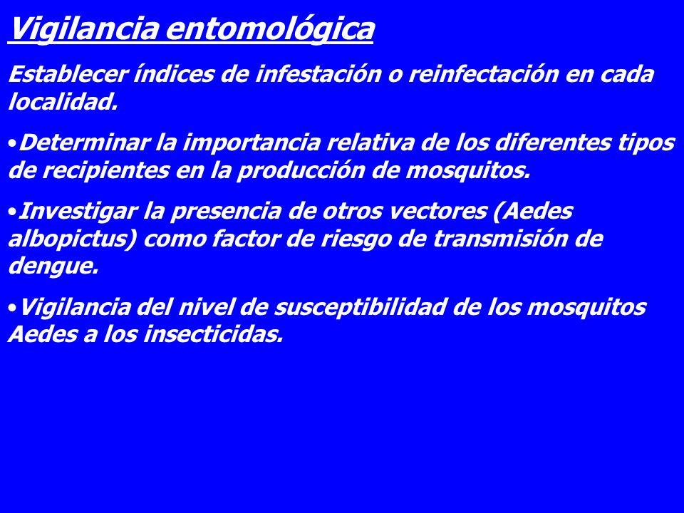 Vigilancia entomológica Establecer índices de infestación o reinfectación en cada localidad. Determinar la importancia relativa de los diferentes tipo