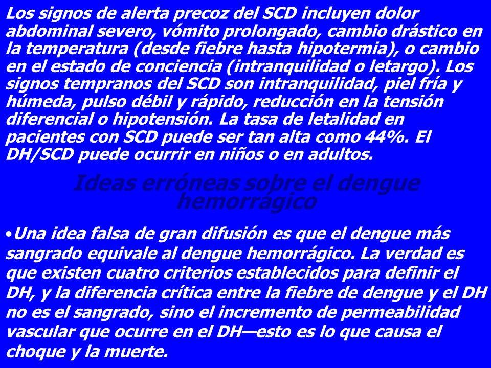 Los signos de alerta precoz del SCD incluyen dolor abdominal severo, vómito prolongado, cambio drástico en la temperatura (desde fiebre hasta hipoterm