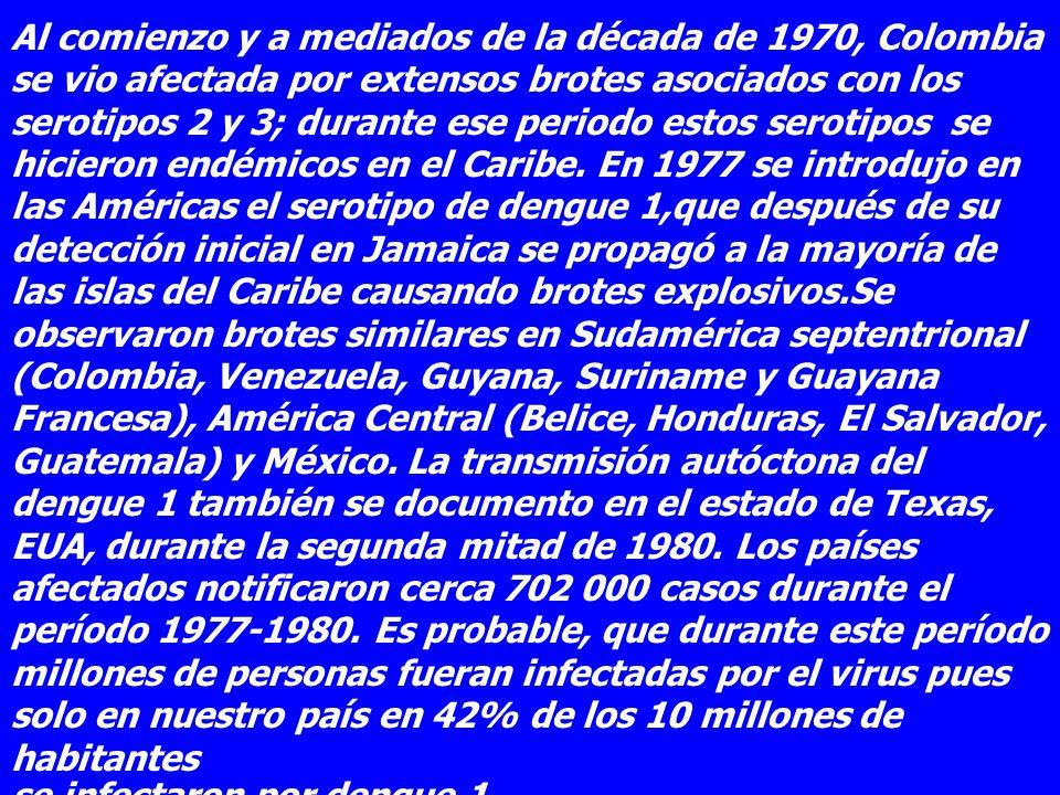 Al comienzo y a mediados de la década de 1970, Colombia se vio afectada por extensos brotes asociados con los serotipos 2 y 3; durante ese periodo est