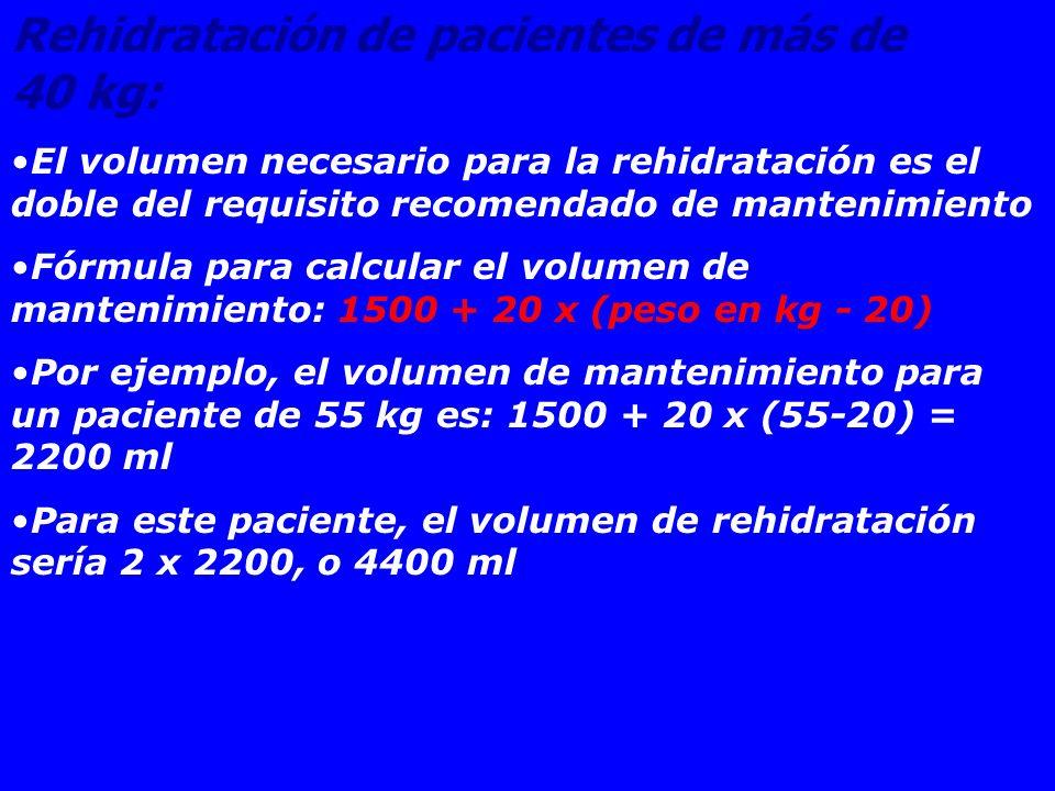 Rehidratación de pacientes de más de 40 kg: El volumen necesario para la rehidratación es el doble del requisito recomendado de mantenimiento Fórmula