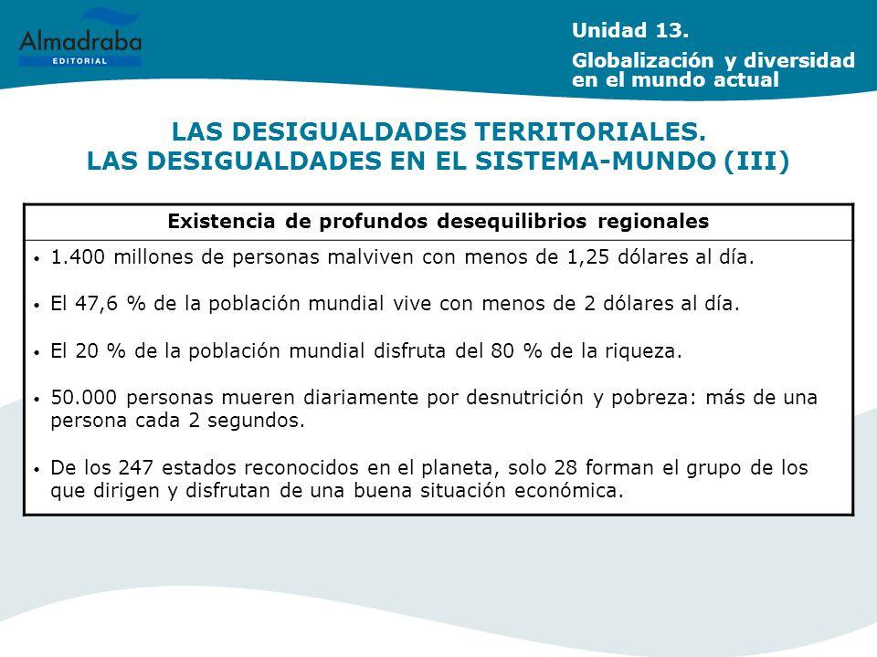 LAS DESIGUALDADES TERRITORIALES. LAS DESIGUALDADES EN EL SISTEMA-MUNDO (III) Existencia de profundos desequilibrios regionales 1.400 millones de perso