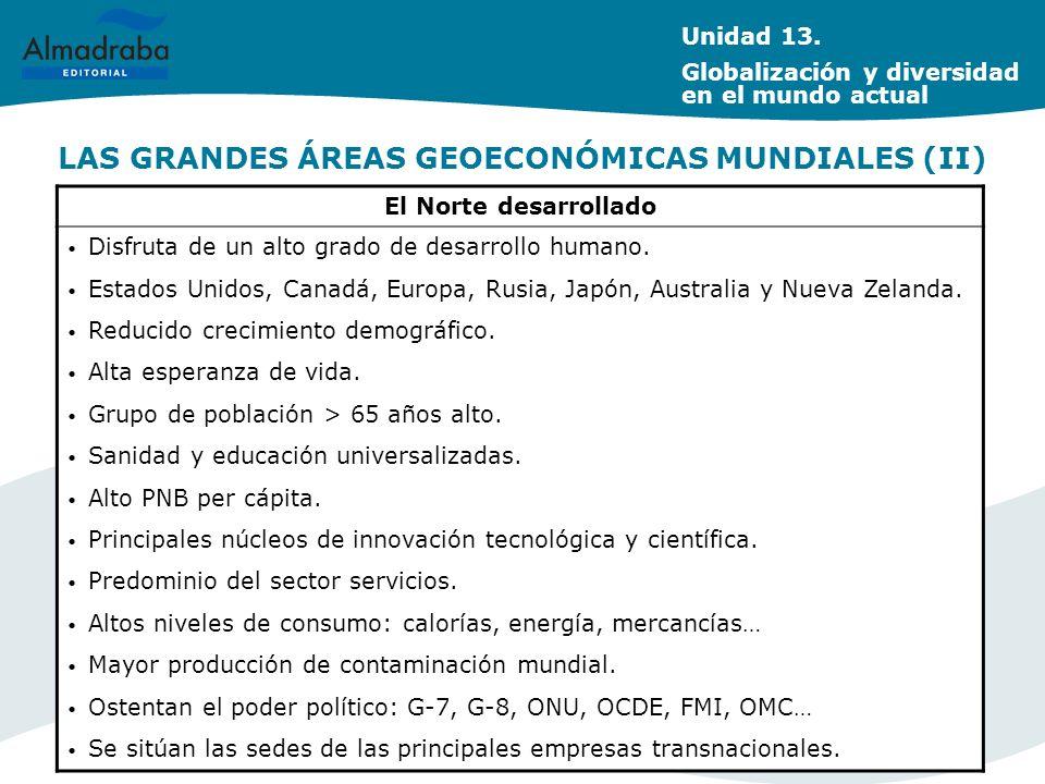 LAS GRANDES ÁREAS GEOECONÓMICAS MUNDIALES (II) El Norte desarrollado Disfruta de un alto grado de desarrollo humano. Estados Unidos, Canadá, Europa, R