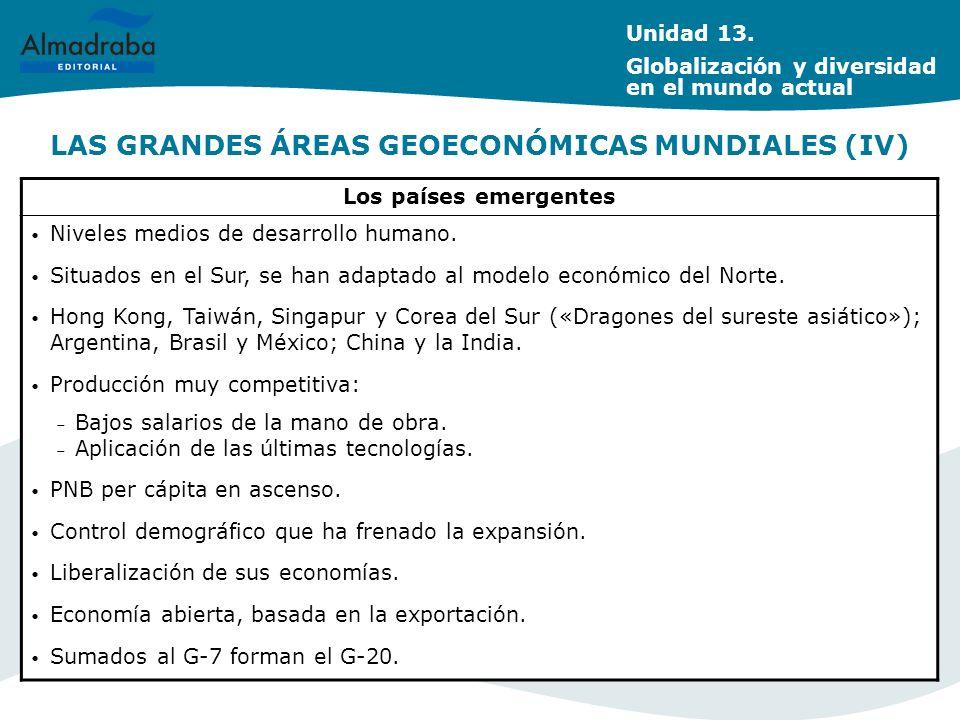 LAS GRANDES ÁREAS GEOECONÓMICAS MUNDIALES (IV) Los países emergentes Niveles medios de desarrollo humano. Situados en el Sur, se han adaptado al model