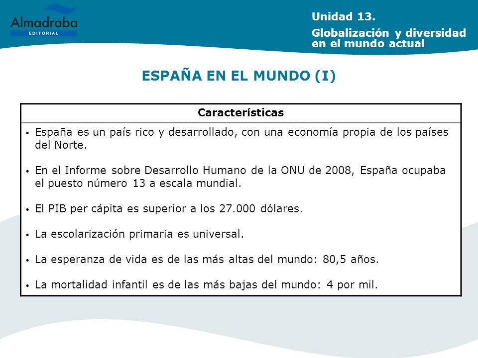 ESPAÑA EN EL MUNDO (I) Características España es un país rico y desarrollado, con una economía propia de los países del Norte. En el Informe sobre Des