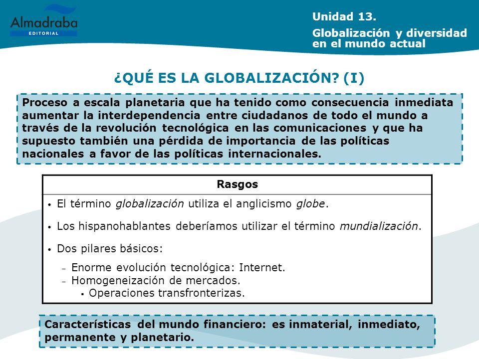 ¿QUÉ ES LA GLOBALIZACIÓN? (I) Proceso a escala planetaria que ha tenido como consecuencia inmediata aumentar la interdependencia entre ciudadanos de t