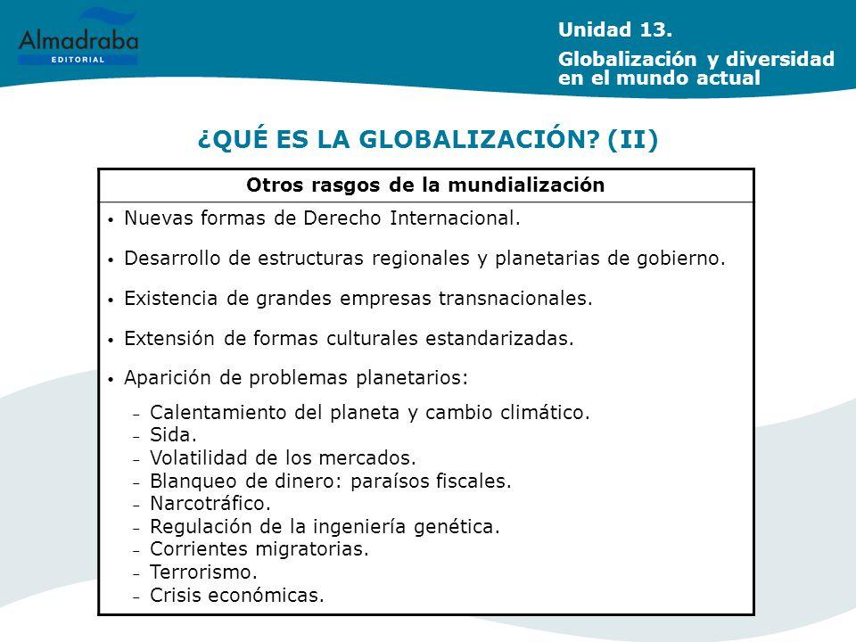 ¿QUÉ ES LA GLOBALIZACIÓN? (II) Otros rasgos de la mundialización Nuevas formas de Derecho Internacional. Desarrollo de estructuras regionales y planet