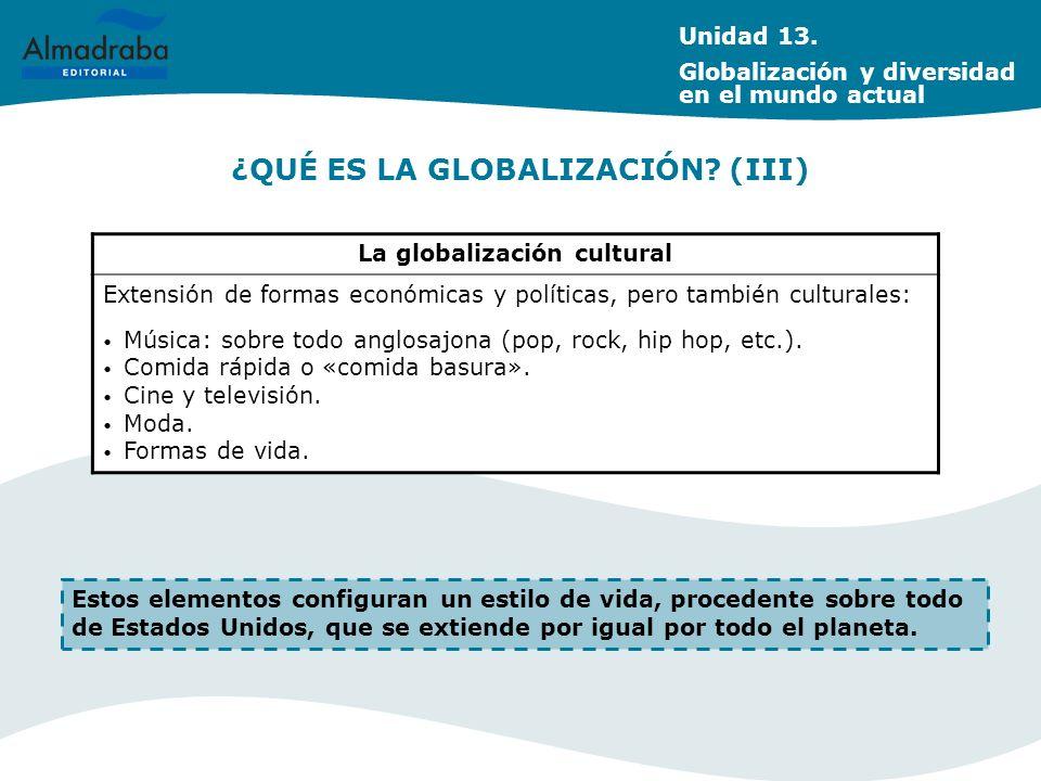 ¿QUÉ ES LA GLOBALIZACIÓN? (III) La globalización cultural Extensión de formas económicas y políticas, pero también culturales: Música: sobre todo angl