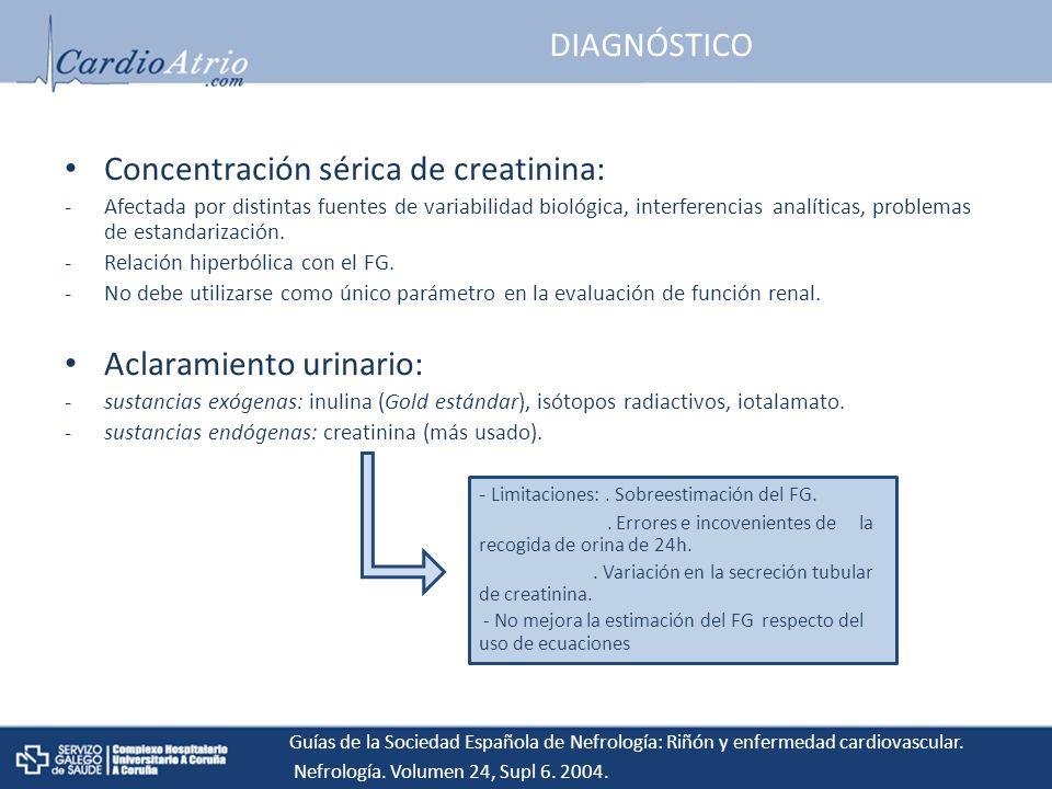 Concentración sérica de creatinina: Afectada por distintas fuentes de variabilidad biológica, interferencias analíticas, problemas de estandarización.