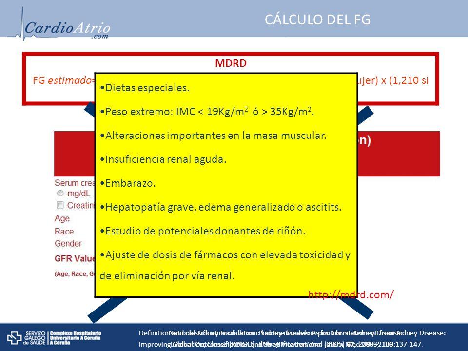 MDRD FG estimado= 186 x (cr (mg/ dL)/88,4) -1,154 x (edad) -0,203 x (0,742 si mujer) x (1,210 si raza negra) CÁLCULO DEL FG Dietas especiales.