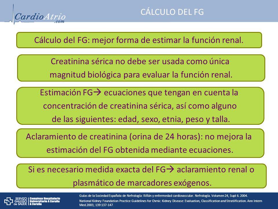 CÁLCULO DEL FG Cálculo del FG: mejor forma de estimar la función renal.