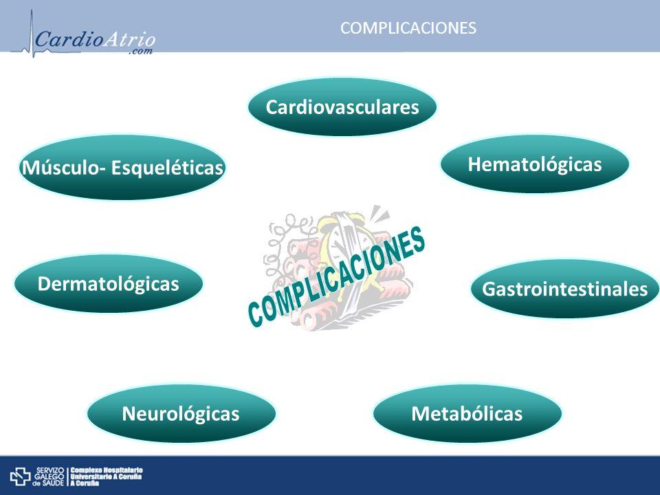 COMPLICACIONES Metabólicas Gastrointestinales Neurológicas Cardiovasculares Dermatológicas Hematológicas Músculo- Esqueléticas