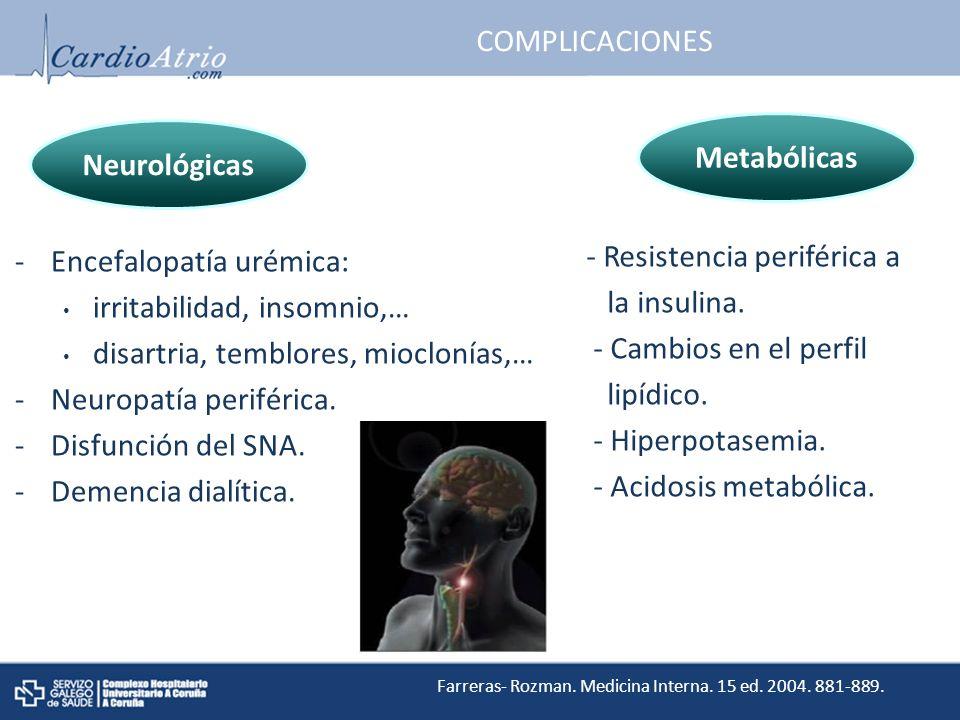 COMPLICACIONES -Encefalopatía urémica: irritabilidad, insomnio,… disartria, temblores, mioclonías,… -Neuropatía periférica.