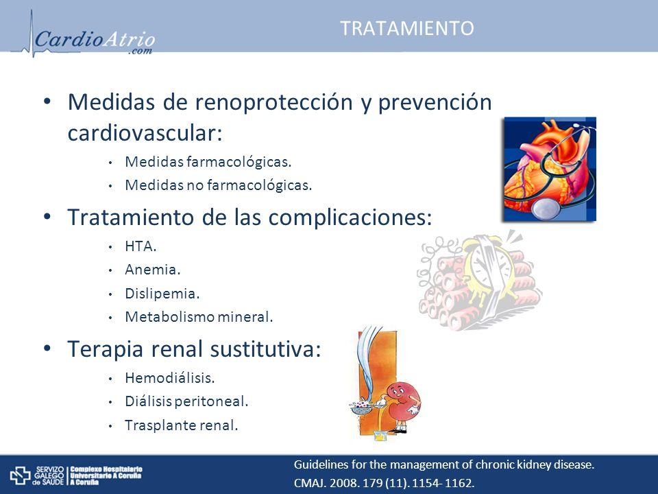TRATAMIENTO Medidas de renoprotección y prevención cardiovascular: Medidas farmacológicas.