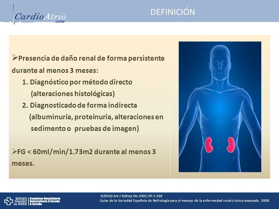 DEFINICIÓN Presencia de daño renal de forma persistente durante al menos 3 meses: 1.