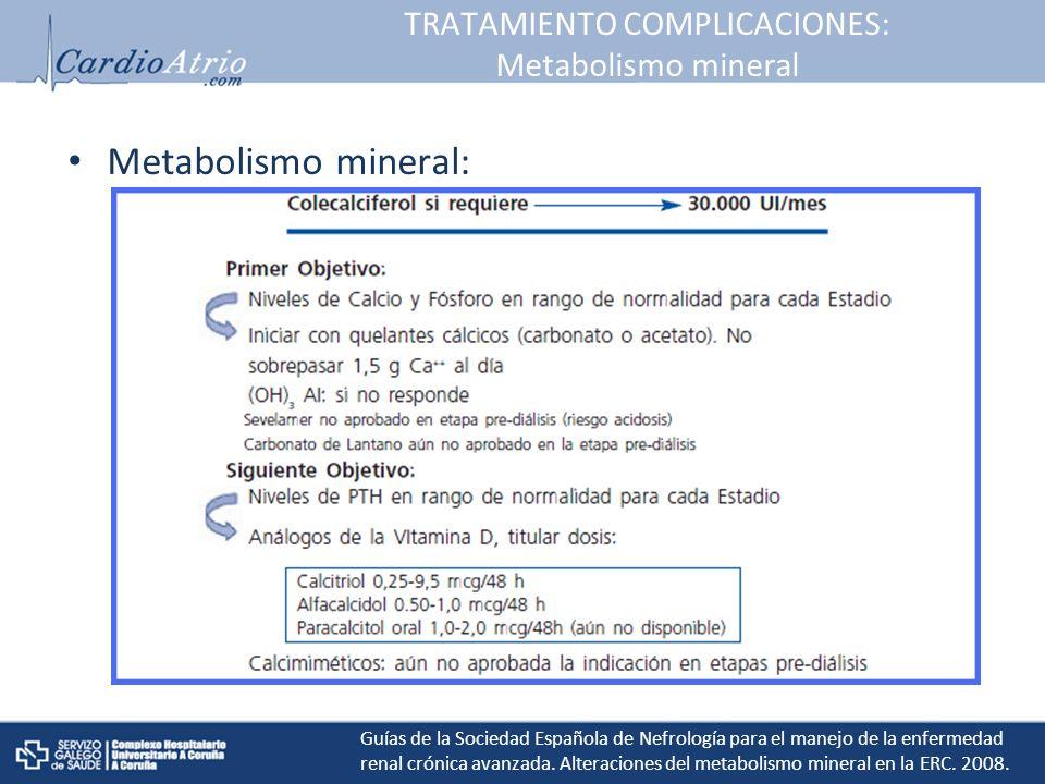 TRATAMIENTO COMPLICACIONES: Metabolismo mineral Metabolismo mineral: Guías de la Sociedad Española de Nefrología para el manejo de la enfermedad renal crónica avanzada.