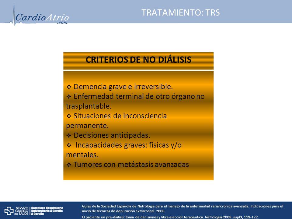 TRATAMIENTO: TRS CRITERIOS DE NO DIÁLISIS Demencia grave e irreversible.