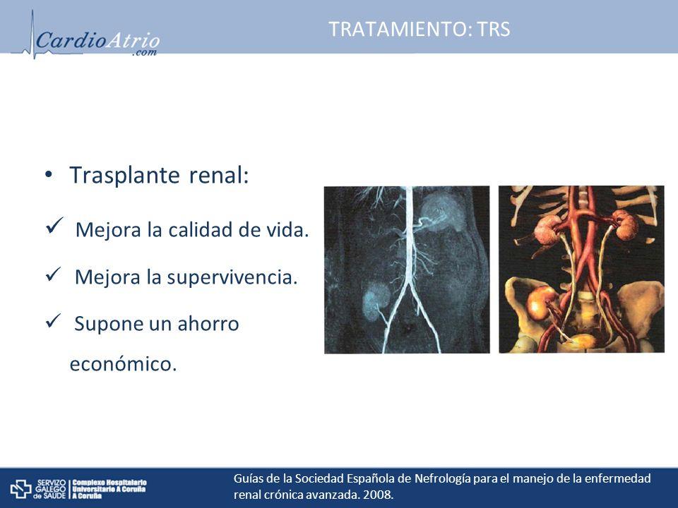 TRATAMIENTO: TRS Trasplante renal: Mejora la calidad de vida.