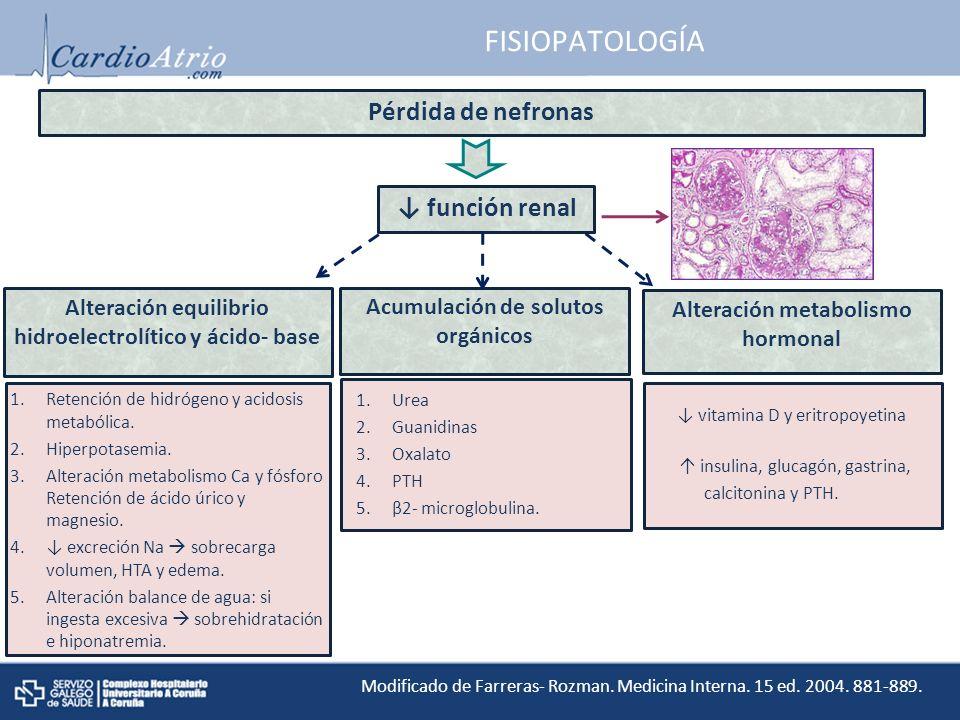 FISIOPATOLOGÍA Pérdida de nefronas función renal Alteración equilibrio hidroelectrolítico y ácido- base Acumulación de solutos orgánicos Alteración metabolismo hormonal Hiperfiltración glomerular Modificado de Farreras- Rozman.