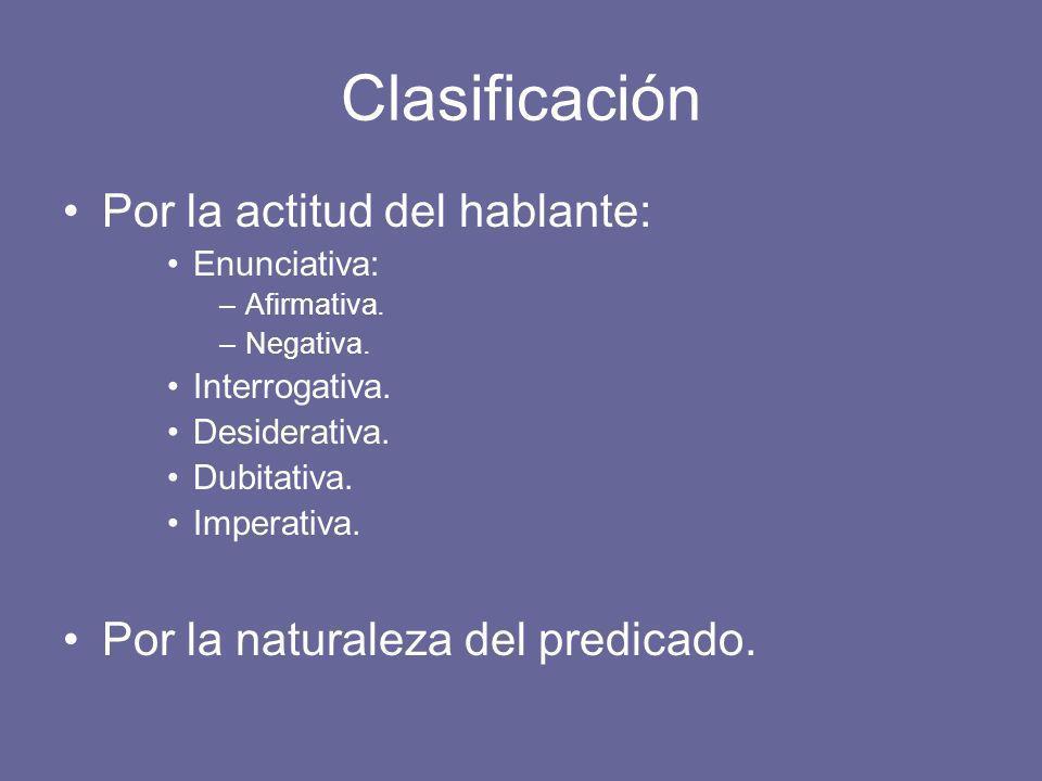 Clasificación Por la actitud del hablante: Enunciativa: –Afirmativa.