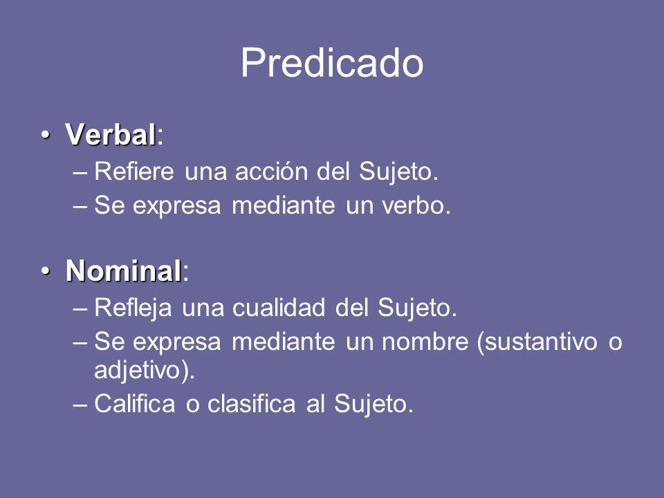 Predicado VerbalVerbal: –Refiere una acción del Sujeto.