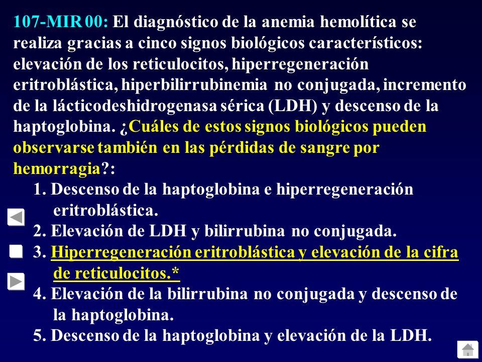 107-MIR 00: El diagnóstico de la anemia hemolítica se realiza gracias a cinco signos biológicos característicos: elevación de los reticulocitos, hiper