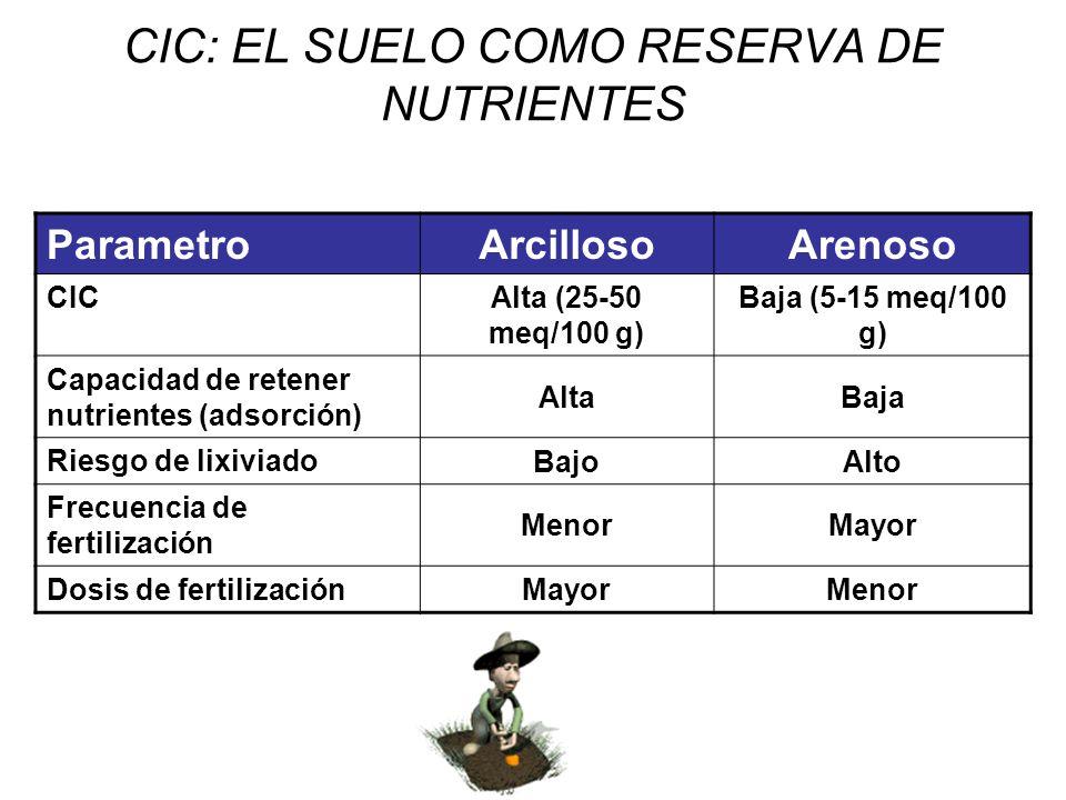 CIC: EL SUELO COMO RESERVA DE NUTRIENTES ParametroArcillosoArenoso CIC Alta (25-50 meq/100 g) Baja (5-15 meq/100 g) Capacidad de retener nutrientes (a