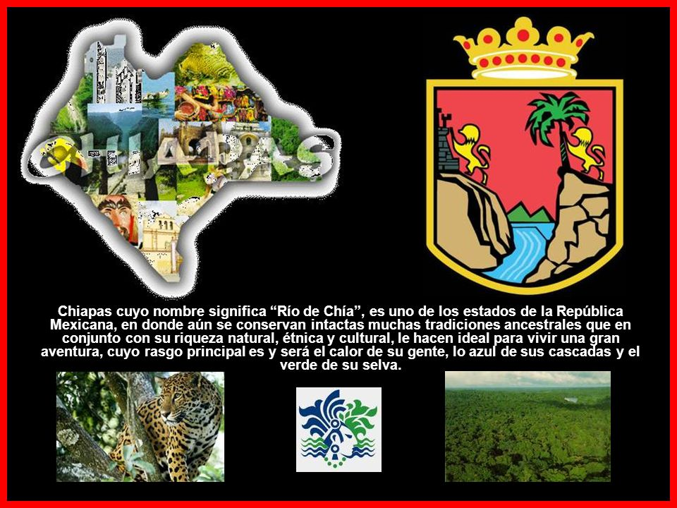 Chiapas cuyo nombre significa Río de Chía, es uno de los estados de la República Mexicana, en donde aún se conservan intactas muchas tradiciones ancestrales que en conjunto con su riqueza natural, étnica y cultural, le hacen ideal para vivir una gran aventura, cuyo rasgo principal es y será el calor de su gente, lo azul de sus cascadas y el verde de su selva.