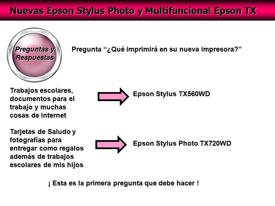 Nuevas Epson Stylus Photo y Multifuncional Epson TX Preguntas y Respuestas Pregunta ¿Qué imprimirá en su nueva impresora.