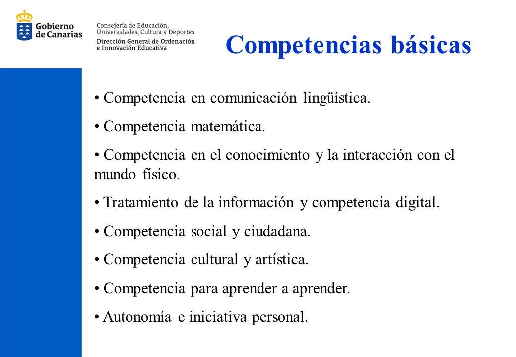 Competencias básicas Competencia en comunicación lingüística. Competencia matemática. Competencia en el conocimiento y la interacción con el mundo fís