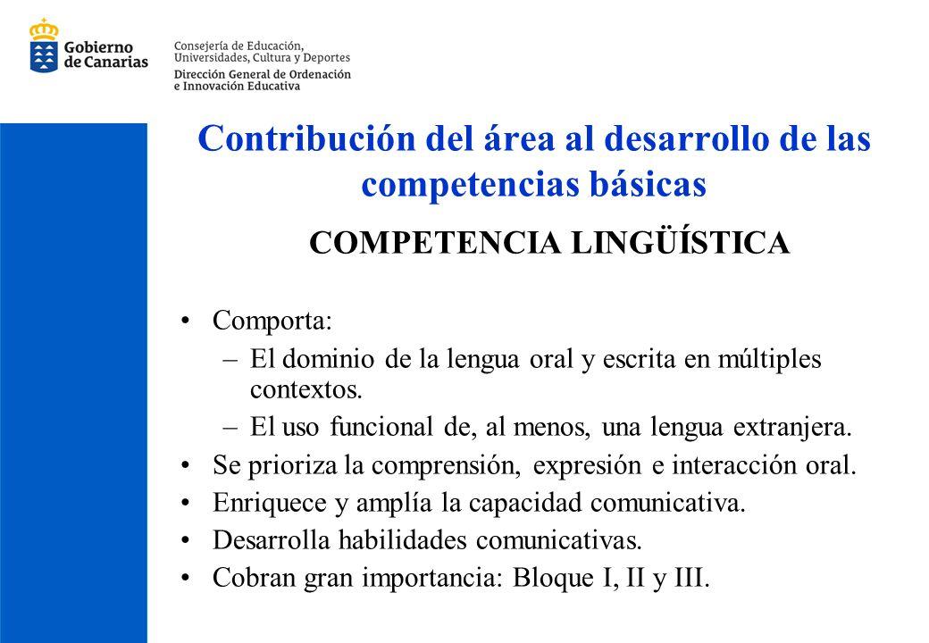 Contribución del área al desarrollo de las competencias básicas COMPETENCIA LINGÜÍSTICA Comporta: –El dominio de la lengua oral y escrita en múltiples