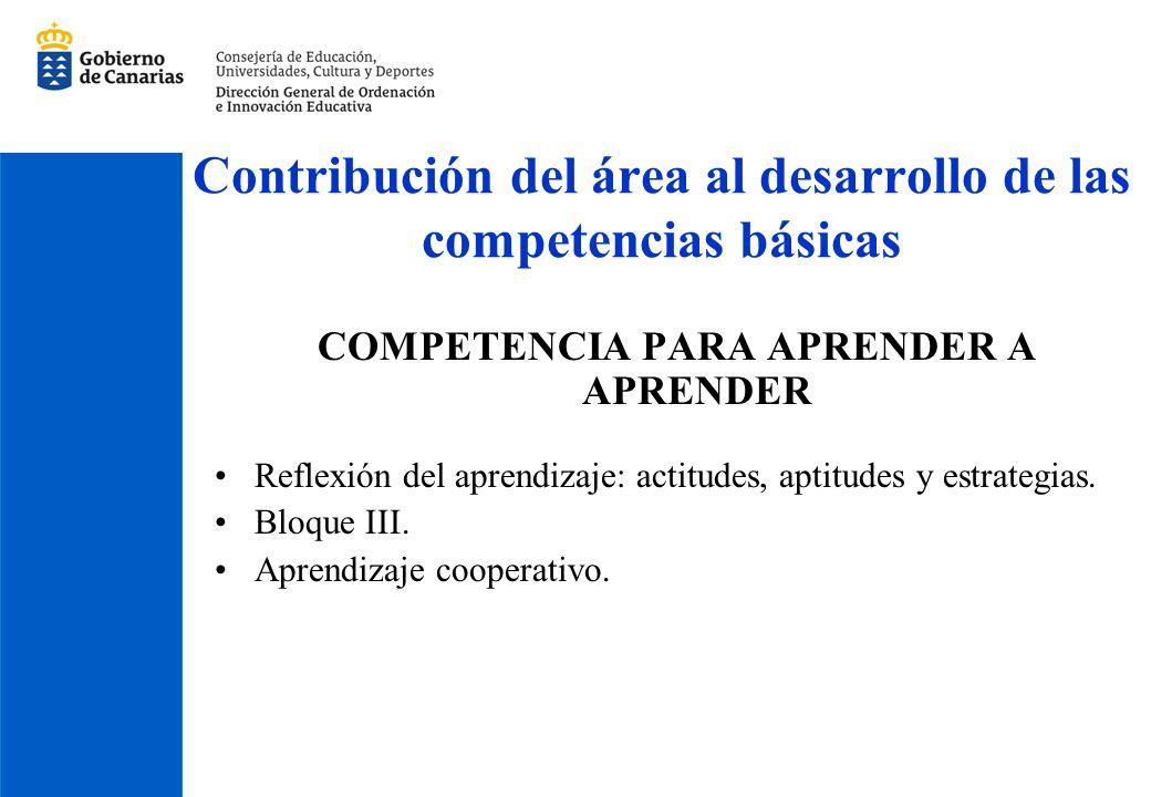 Contribución del área al desarrollo de las competencias básicas COMPETENCIA PARA APRENDER A APRENDER Reflexión del aprendizaje: actitudes, aptitudes y