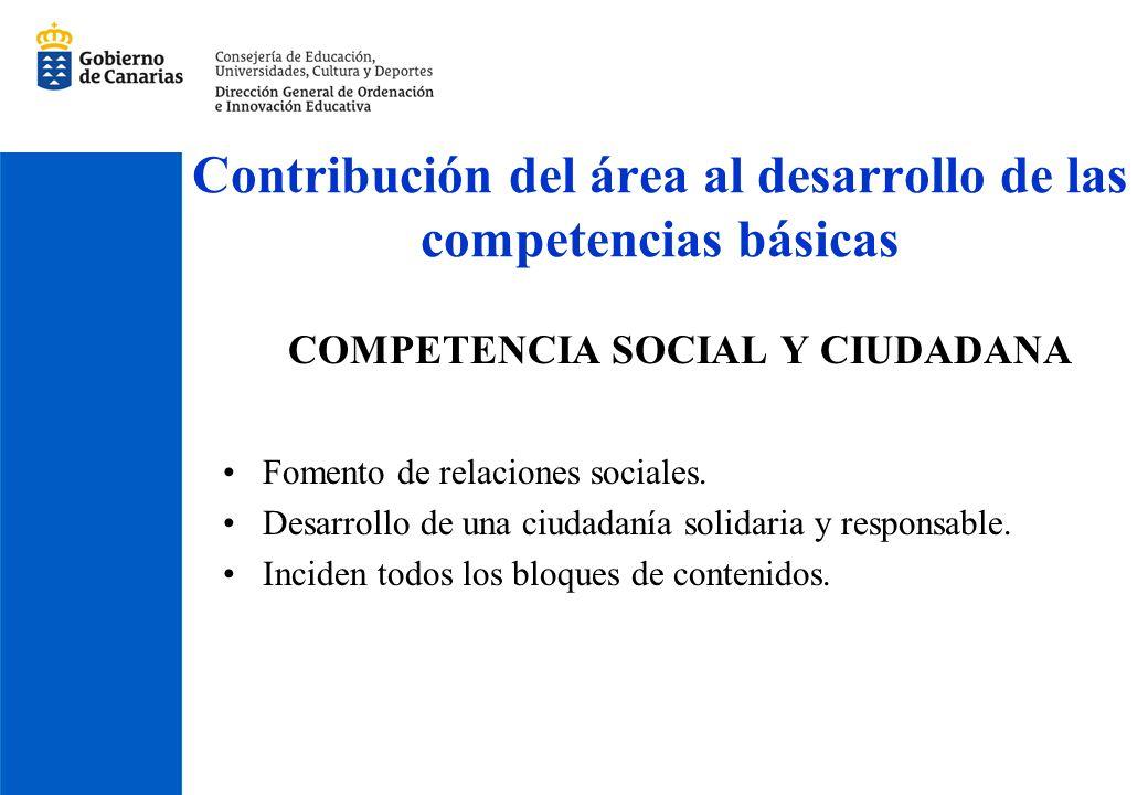 Contribución del área al desarrollo de las competencias básicas COMPETENCIA SOCIAL Y CIUDADANA Fomento de relaciones sociales. Desarrollo de una ciuda