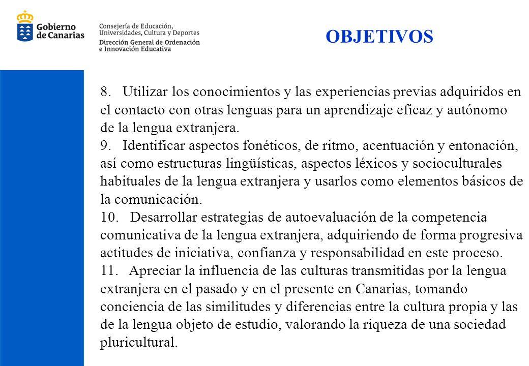 OBJETIVOS 8. Utilizar los conocimientos y las experiencias previas adquiridos en el contacto con otras lenguas para un aprendizaje eficaz y autónomo d