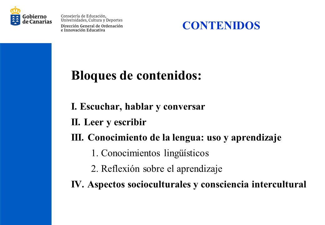 CONTENIDOS Bloques de contenidos: I. Escuchar, hablar y conversar II. Leer y escribir III. Conocimiento de la lengua: uso y aprendizaje 1. Conocimient