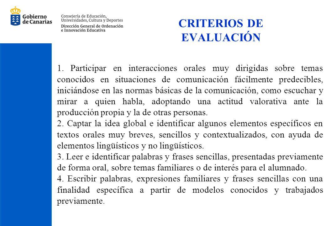 CRITERIOS DE EVALUACIÓN 1. Participar en interacciones orales muy dirigidas sobre temas conocidos en situaciones de comunicación fácilmente predecible