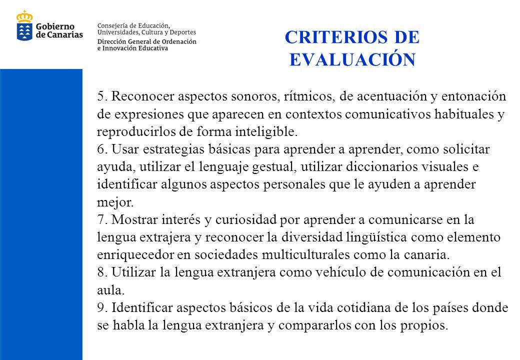 CRITERIOS DE EVALUACIÓN 5. Reconocer aspectos sonoros, rítmicos, de acentuación y entonación de expresiones que aparecen en contextos comunicativos ha
